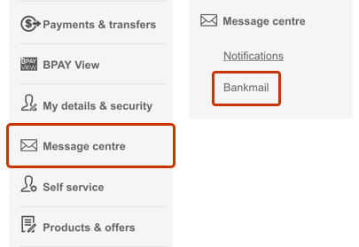 Image of online banking menu with Bankmail highlighted. Bankmail can be seen as a submenu of the Message centre menu.